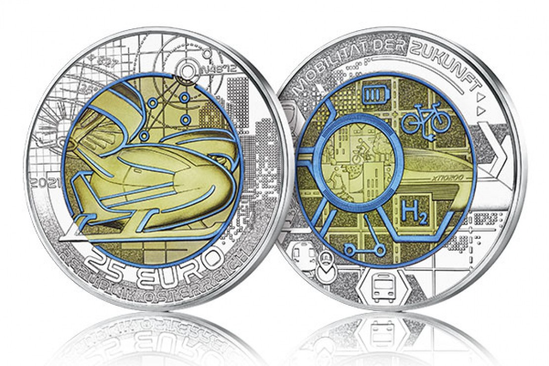 25-Euro Silber-Niob-Münze 2021 Mobilität der Zukunft 3D-Darstellung Avers-Revers