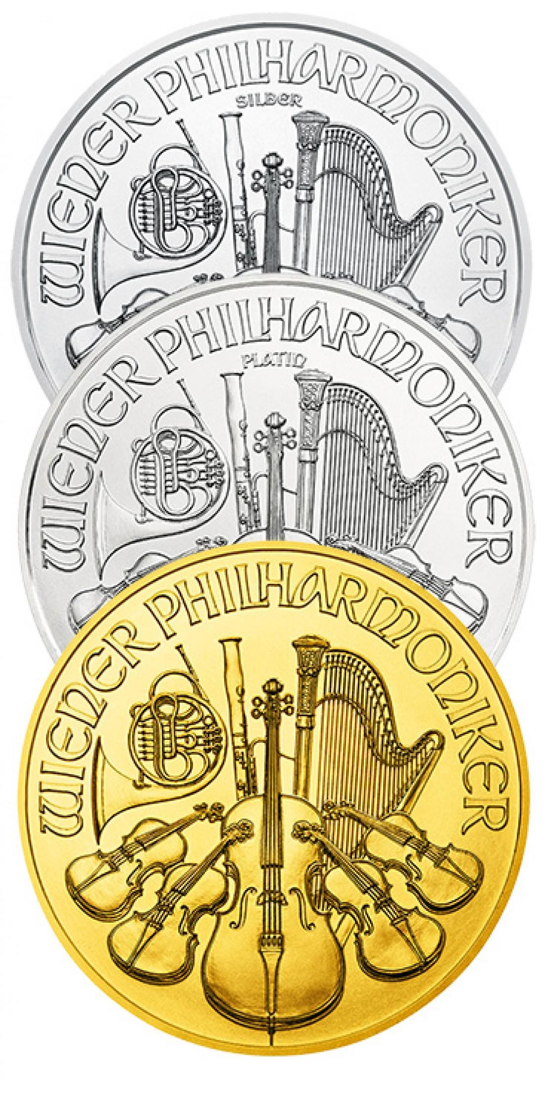 Wiener Philharmoniker in Gold, silber und Platin