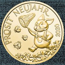Glücksjeton 2020 Silber vergoldet