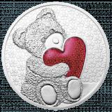 Teddybär-Medaille Rot mit Diamanten