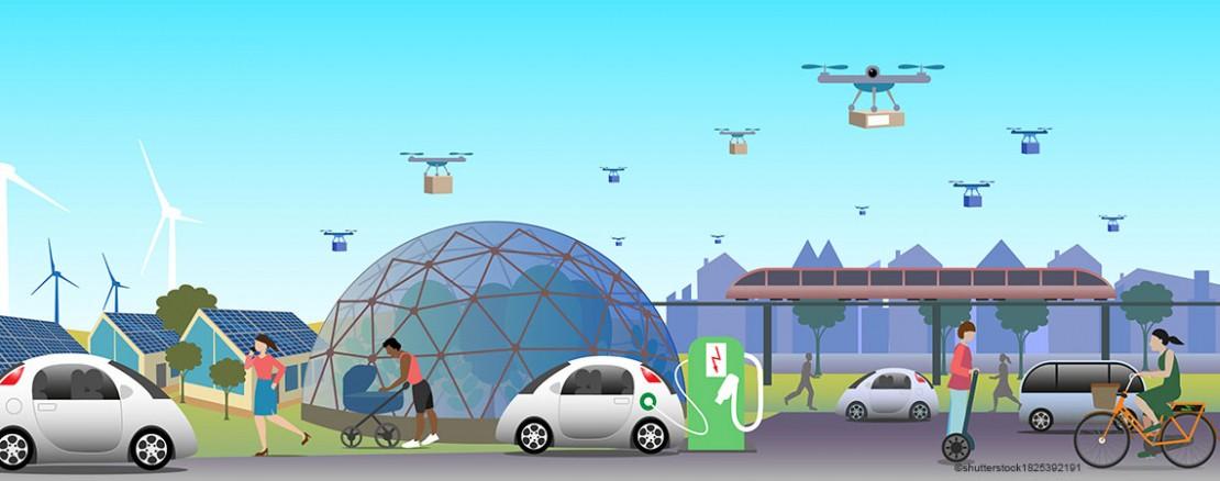 Vektorbild Zukunft der Mobilität Hauptslider Silber-Niob-Münze 2021