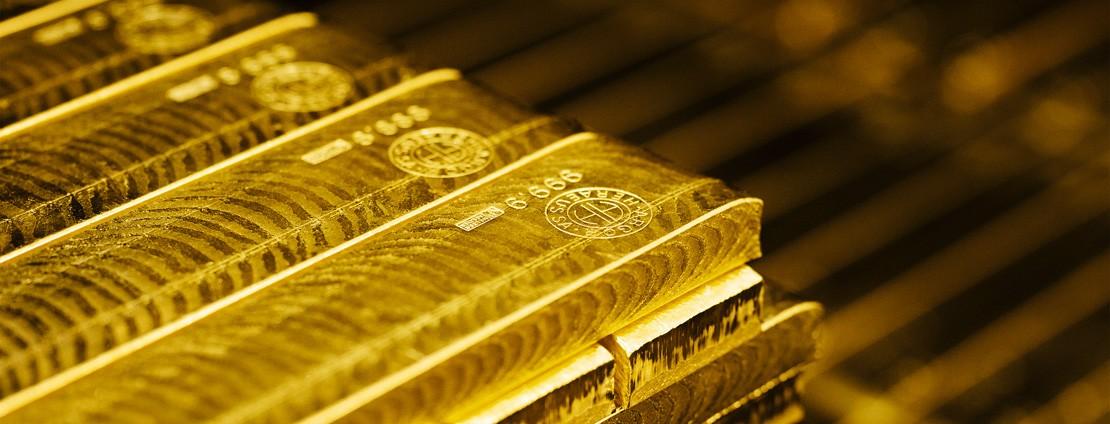 Goldbarren Stapel