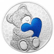Teddybär-Medaille mit blauem Herz